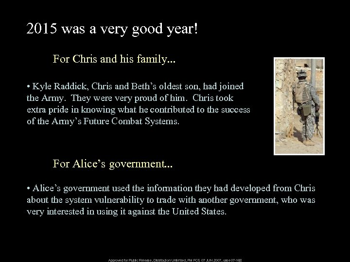 2015 was a very good year! For Chris and his family. . . •