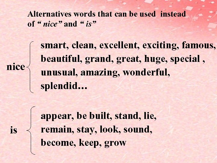 "Alternatives words that can be used instead of "" nice"" and "" is"" nice"