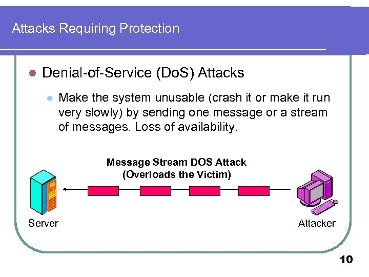 Attacks Requiring Protection l Denial-of-Service (Do. S) Attacks l Make the system unusable (crash