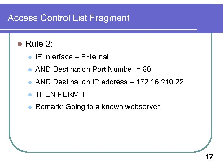 Access Control List Fragment l Rule 2: l IF Interface = External l AND