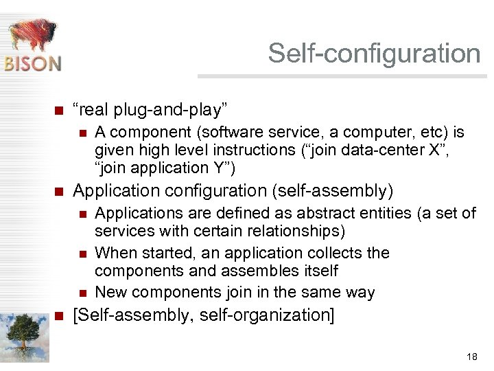 "Self-configuration n ""real plug-and-play"" n n Application configuration (self-assembly) n n A component (software"
