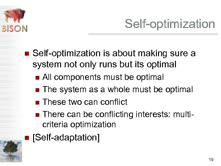Self-optimization n Self-optimization is about making sure a system not only runs but its