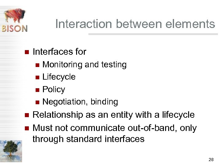 Interaction between elements n Interfaces for Monitoring and testing n Lifecycle n Policy n