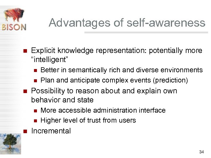 """Advantages of self-awareness n Explicit knowledge representation: potentially more """"intelligent"""" n n n Possibility"""