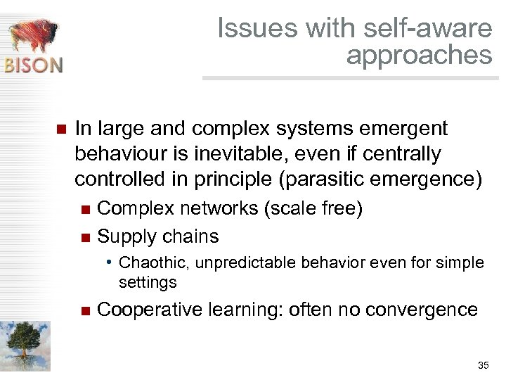 Issues with self-aware approaches n In large and complex systems emergent behaviour is inevitable,