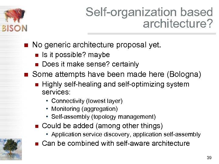 Self-organization based architecture? n No generic architecture proposal yet. n n n Is it