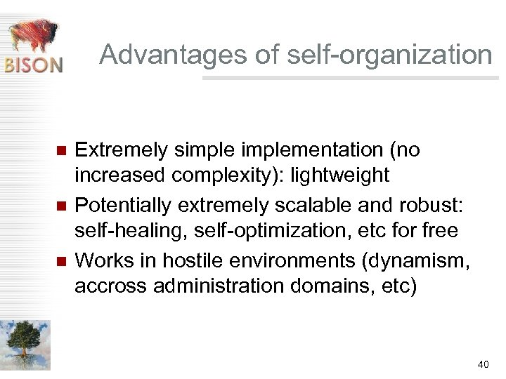 Advantages of self-organization n Extremely simplementation (no increased complexity): lightweight Potentially extremely scalable and