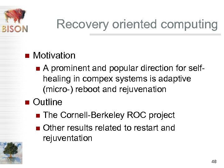 Recovery oriented computing n Motivation n n A prominent and popular direction for selfhealing