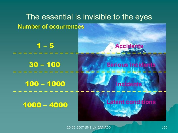 The essential is invisible to the eyes Number of occurrences 1– 5 Accidents 30