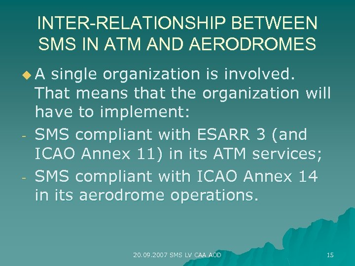 INTER-RELATIONSHIP BETWEEN SMS IN ATM AND AERODROMES u. A - single organization is involved.