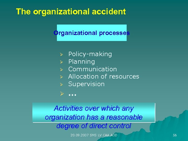 The organizational accident Organizational processes Ø Ø Ø Policy-making Planning Communication Allocation of resources