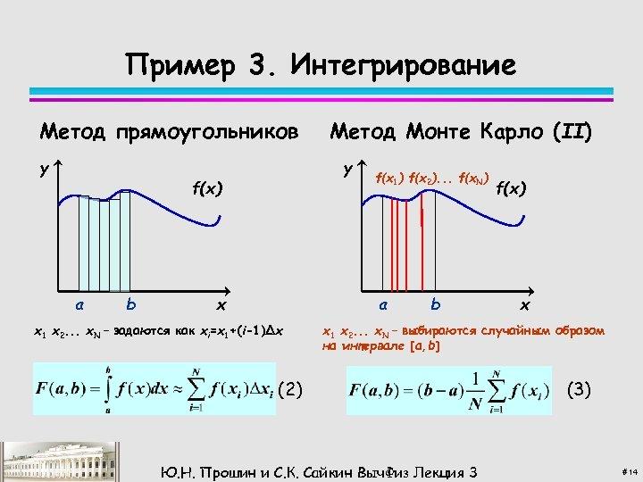 Пример 3. Интегрирование Метод прямоугольников y y f(x) a b Метод Монте Карло (II)