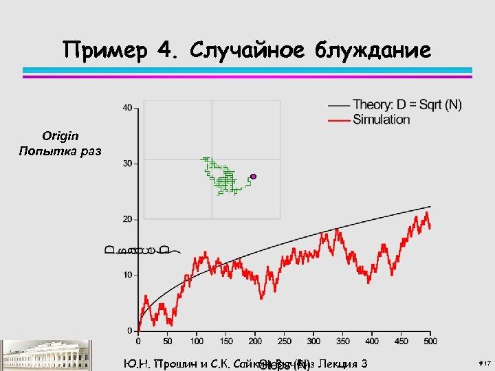 Пример 4. Случайное блуждание Origin Попытка раз Ю. Н. Прошин и С. К. Сайкин