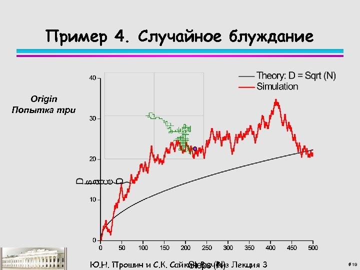 Пример 4. Случайное блуждание Origin Попытка три Ю. Н. Прошин и С. К. Сайкин