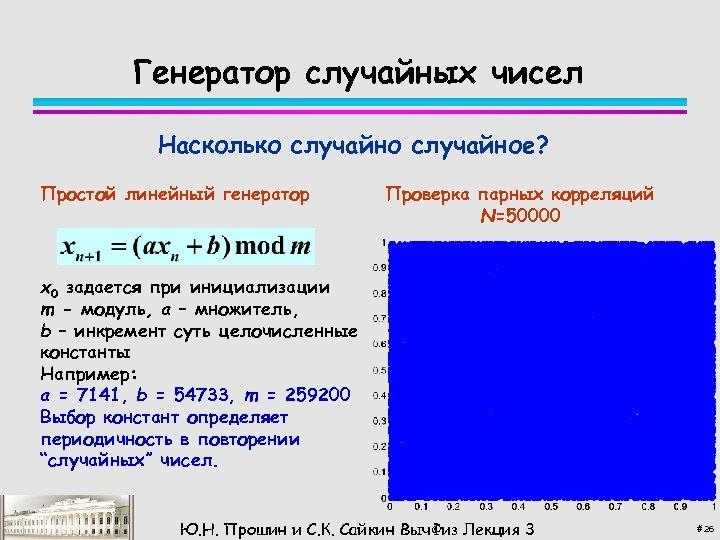 Генератор случайных чисел Насколько случайное? Простой линейный генератор Проверка парных корреляций N=50000 x 0