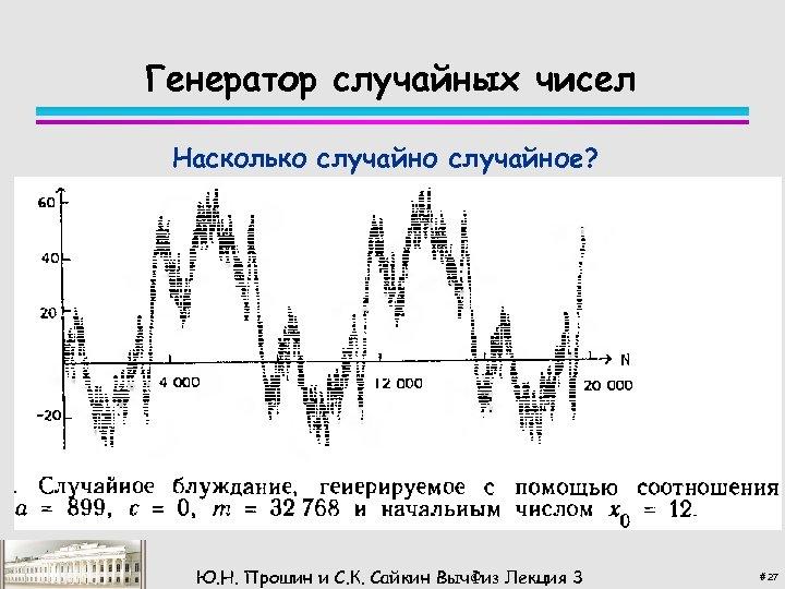 Генератор случайных чисел Насколько случайное? Простой линейный генератор Ю. Н. Прошин и С. К.