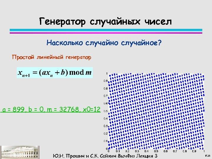 Генератор случайных чисел Насколько случайное? Простой линейный генератор a = 899, b = 0,