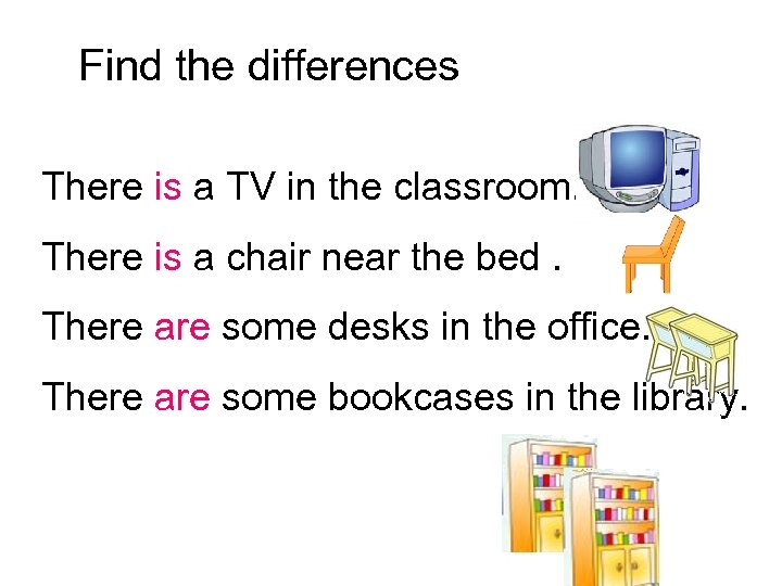 Find the differences There is a TV in the classroom. There is a chair
