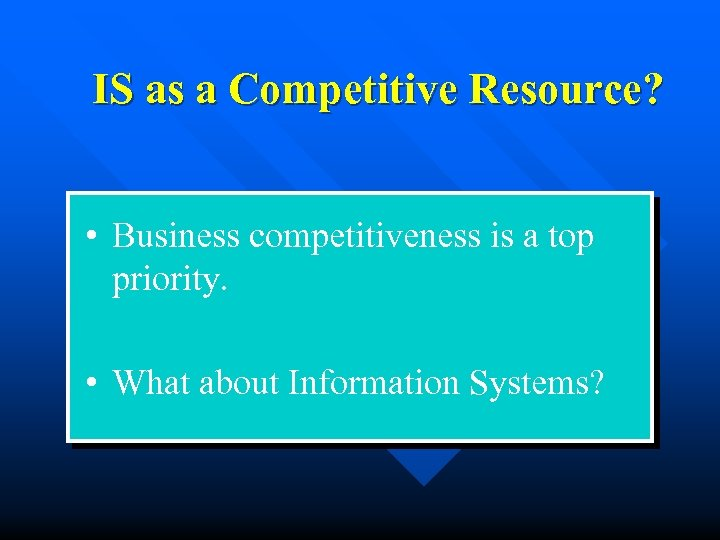 IS as a Competitive Resource? • Business competitiveness is a top priority. • What