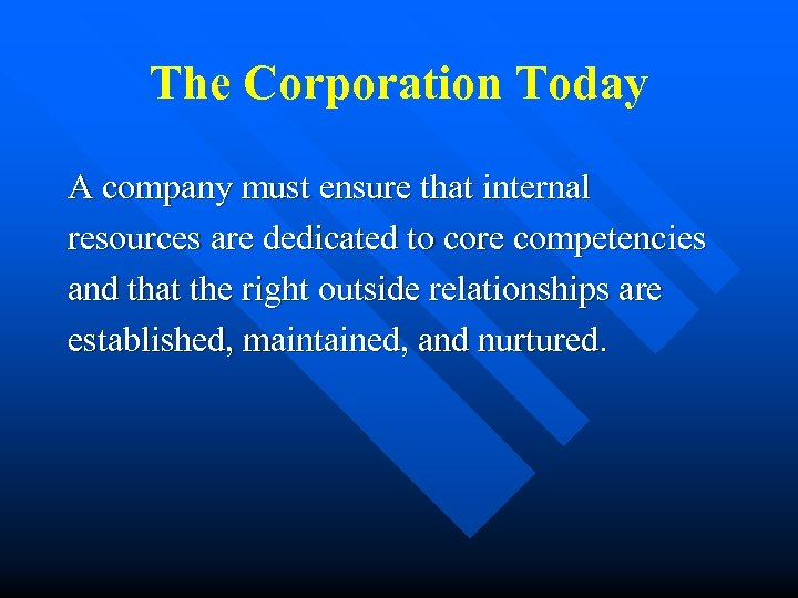 The Corporation Today A company must ensure that internal resources are dedicated to core