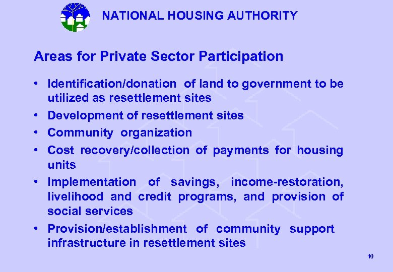 NATIONAL HOUSING AUTHORITY Areas for Private Sector Participation • Identification/donation of land to government