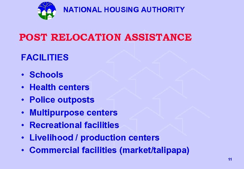 NATIONAL HOUSING AUTHORITY POST RELOCATION ASSISTANCE FACILITIES • • Schools Health centers Police outposts