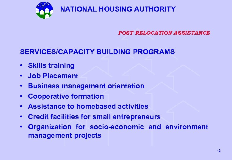 NATIONAL HOUSING AUTHORITY POST RELOCATION ASSISTANCE SERVICES/CAPACITY BUILDING PROGRAMS • • Skills training Job