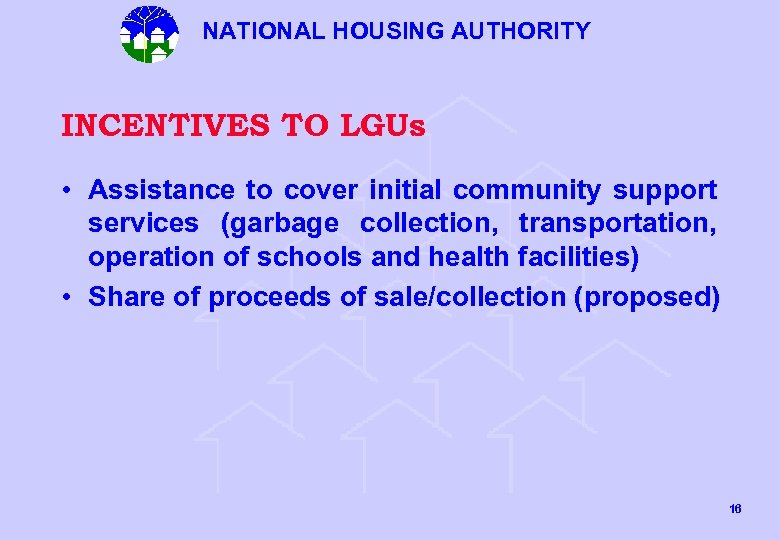 NATIONAL HOUSING AUTHORITY INCENTIVES TO LGUs • Assistance to cover initial community support services