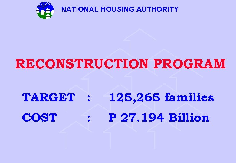 NATIONAL HOUSING AUTHORITY RECONSTRUCTION PROGRAM TARGET : 125, 265 families COST P 27. 194