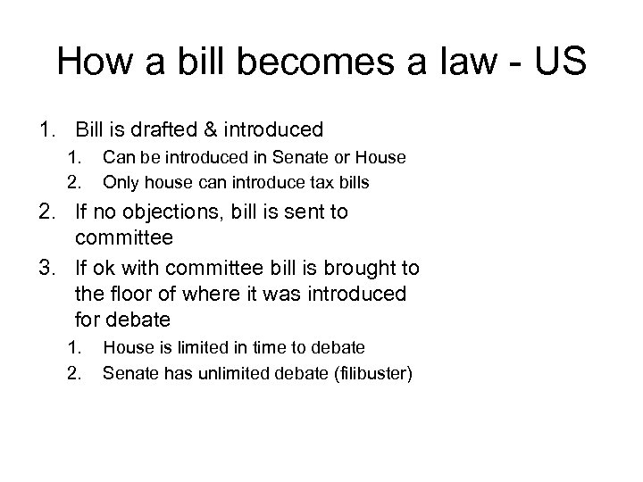 How a bill becomes a law - US 1. Bill is drafted & introduced