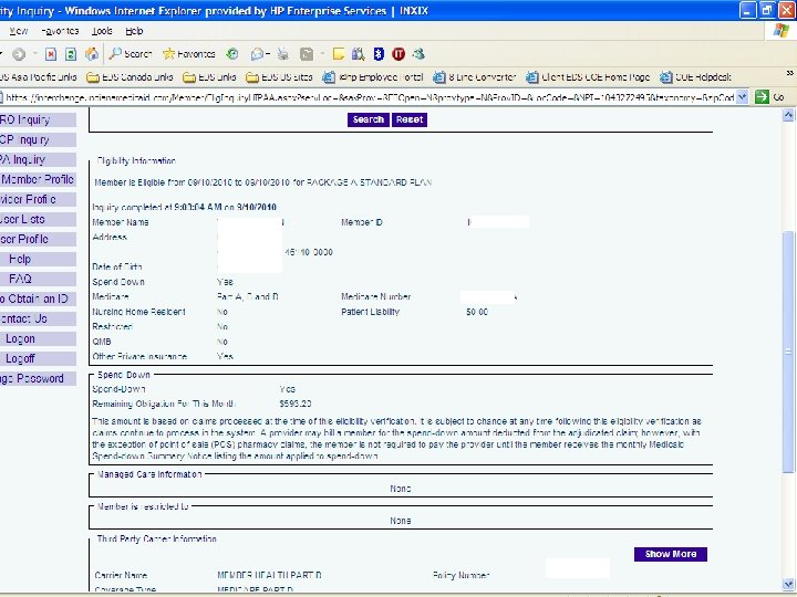 Eligibility Verification System Enhanced spend-down information 11 Spend-down October 2010