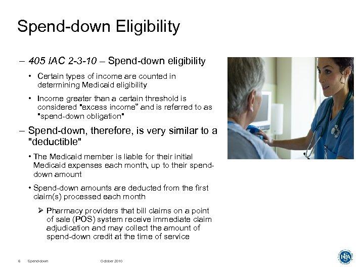 Spend-down Eligibility – 405 IAC 2 -3 -10 – Spend-down eligibility • Certain types