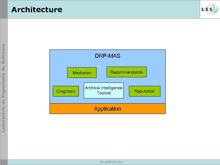 Architecture DRP-MAS Mediation Diagnosis Recommendation Artificial Intelligence Toolset Application © LES/PUC-Rio Reputation
