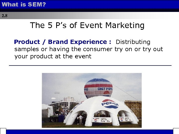 What is SEM? 2. 8 The 5 P's of Event Marketing Product / Brand