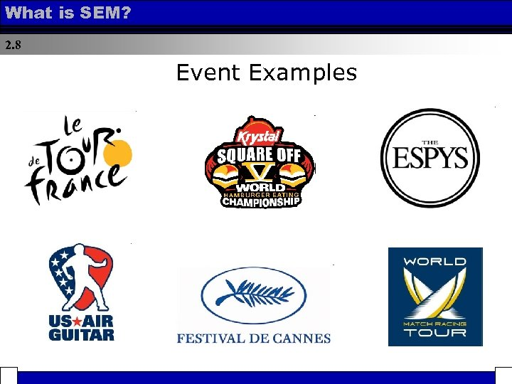 What is SEM? 2. 8 Event Examples
