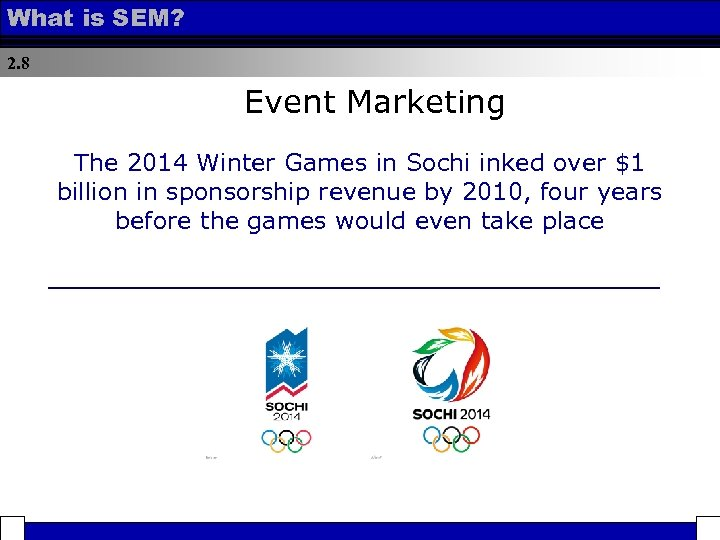 What is SEM? 2. 8 Event Marketing The 2014 Winter Games in Sochi inked