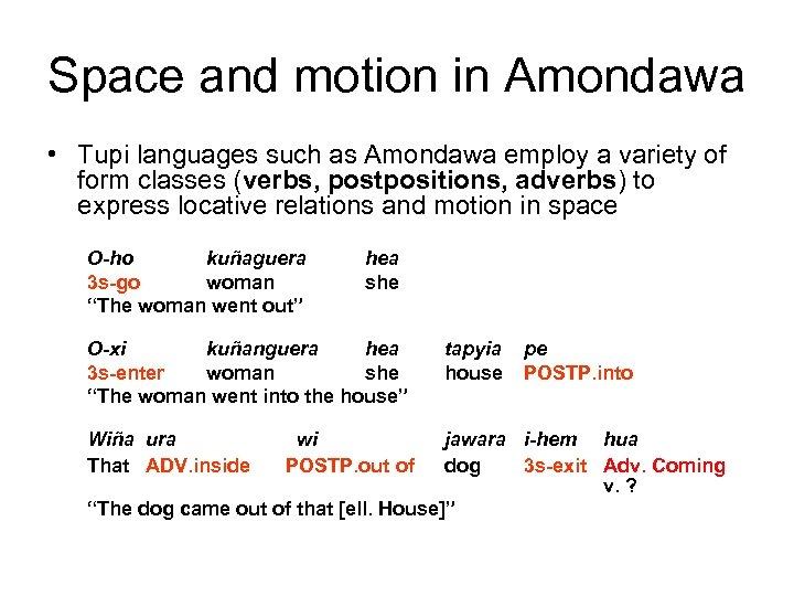 Space and motion in Amondawa • Tupi languages such as Amondawa employ a variety