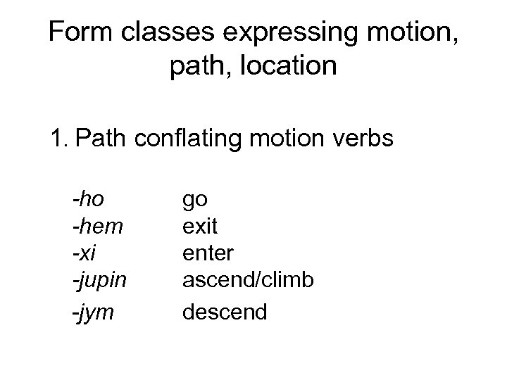 Form classes expressing motion, path, location 1. Path conflating motion verbs -ho -hem -xi