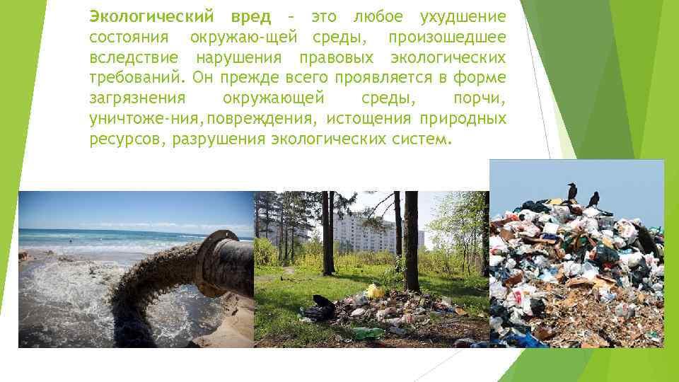 Экологический вред – это любое ухудшение состояния окружаю щей среды, произошедшее вследствие нарушения правовых