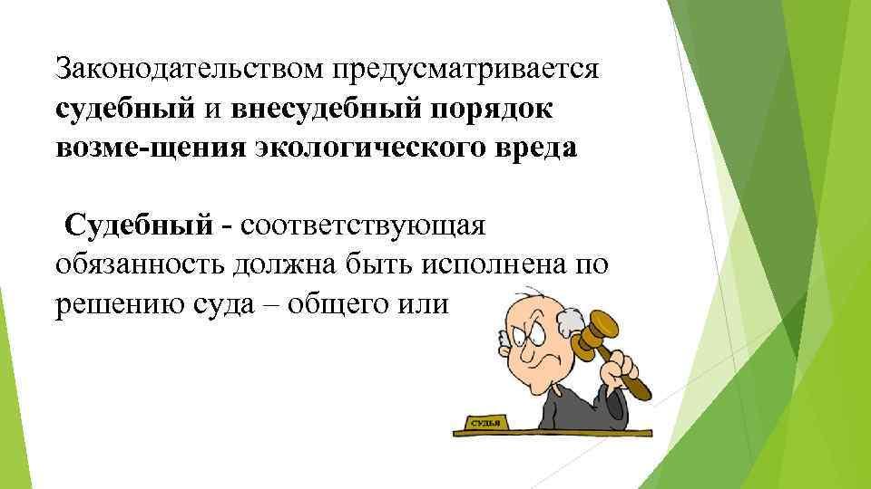 Законодательством предусматривается судебный и внесудебный порядок возме щения экологического вреда. Судебный соответствующая обязанность должна