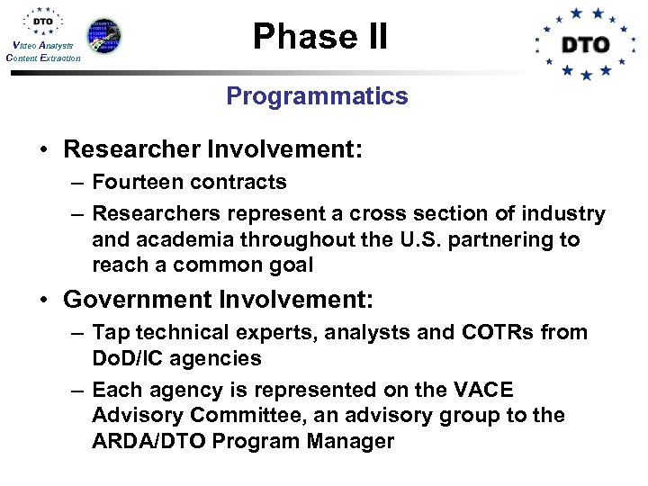 Video Analysis Content Extraction Phase II Programmatics • Researcher Involvement: – Fourteen contracts –