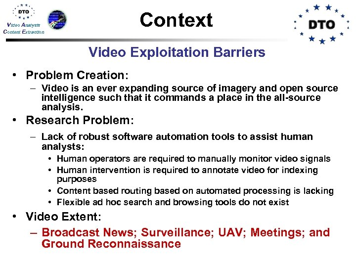 Context Video Analysis Content Extraction Video Exploitation Barriers • Problem Creation: – Video is