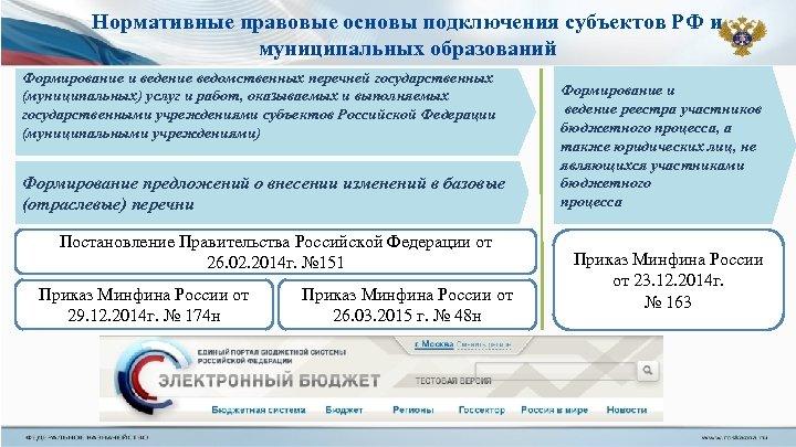 Нормативные правовые основы подключения субъектов РФ и муниципальных образований Формирование и ведение ведомственных перечней