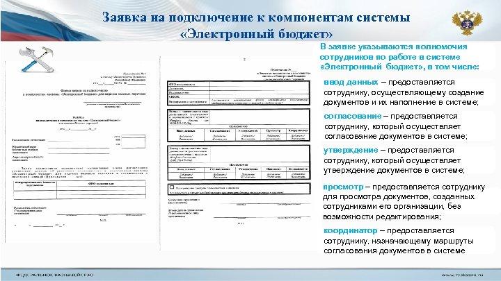 Заявка на подключение к компонентам системы «Электронный бюджет» В заявке указываются полномочия сотрудников по