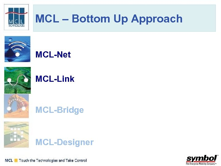 MCL – Bottom Up Approach MCL-Net Communication Layer • Deployment of data collection applications