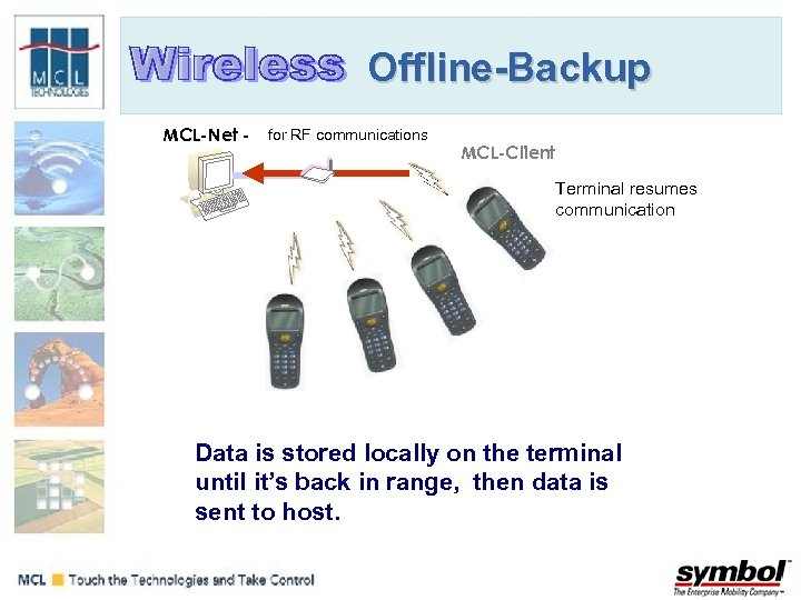Offline-Backup MCL-Net - for RF communications MCL-Client Terminal resumes communication Data is stored locally