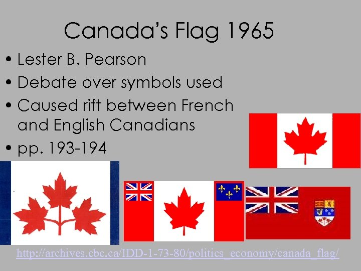 Canada's Flag 1965 • Lester B. Pearson • Debate over symbols used • Caused