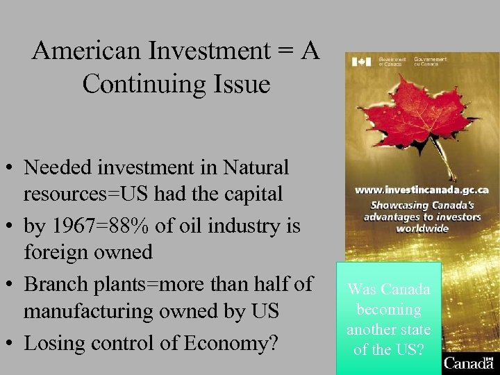 American Investment = A Continuing Issue • Needed investment in Natural resources=US had the