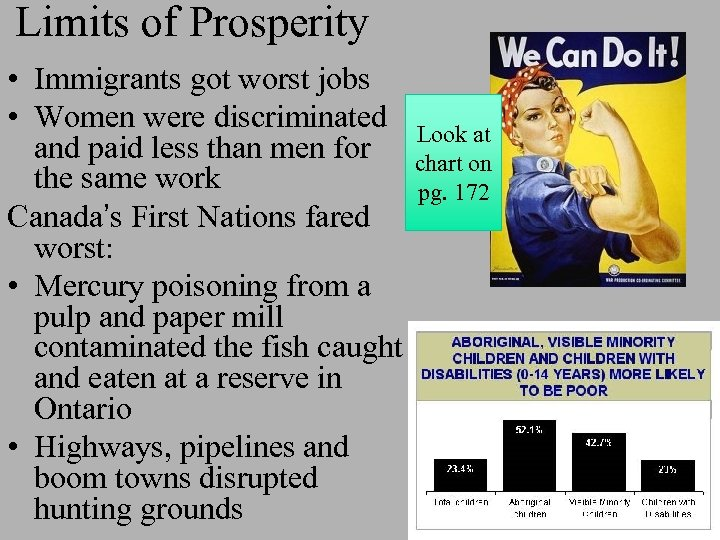 Limits of Prosperity • Immigrants got worst jobs • Women were discriminated and paid