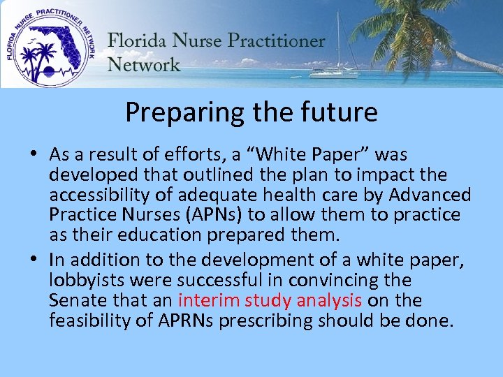 "Preparing the future • As a result of efforts, a ""White Paper"" was developed"
